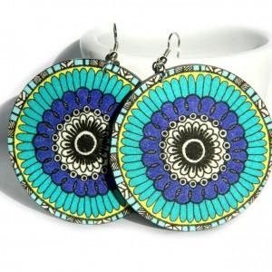 Kolczyki drewniane mandale niebieskie, biżuteria boho etno folk, duże kolczyki koła