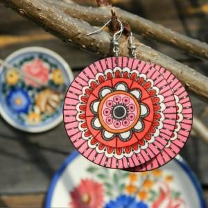 Kolczyki drewniane mandale różowe, biżuteria boho etno folk, duże kolczyki koła