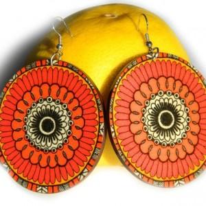 Kolczyki drewniane mandale czerwone, biżuteria boho etno folk, duże kolczyki koła