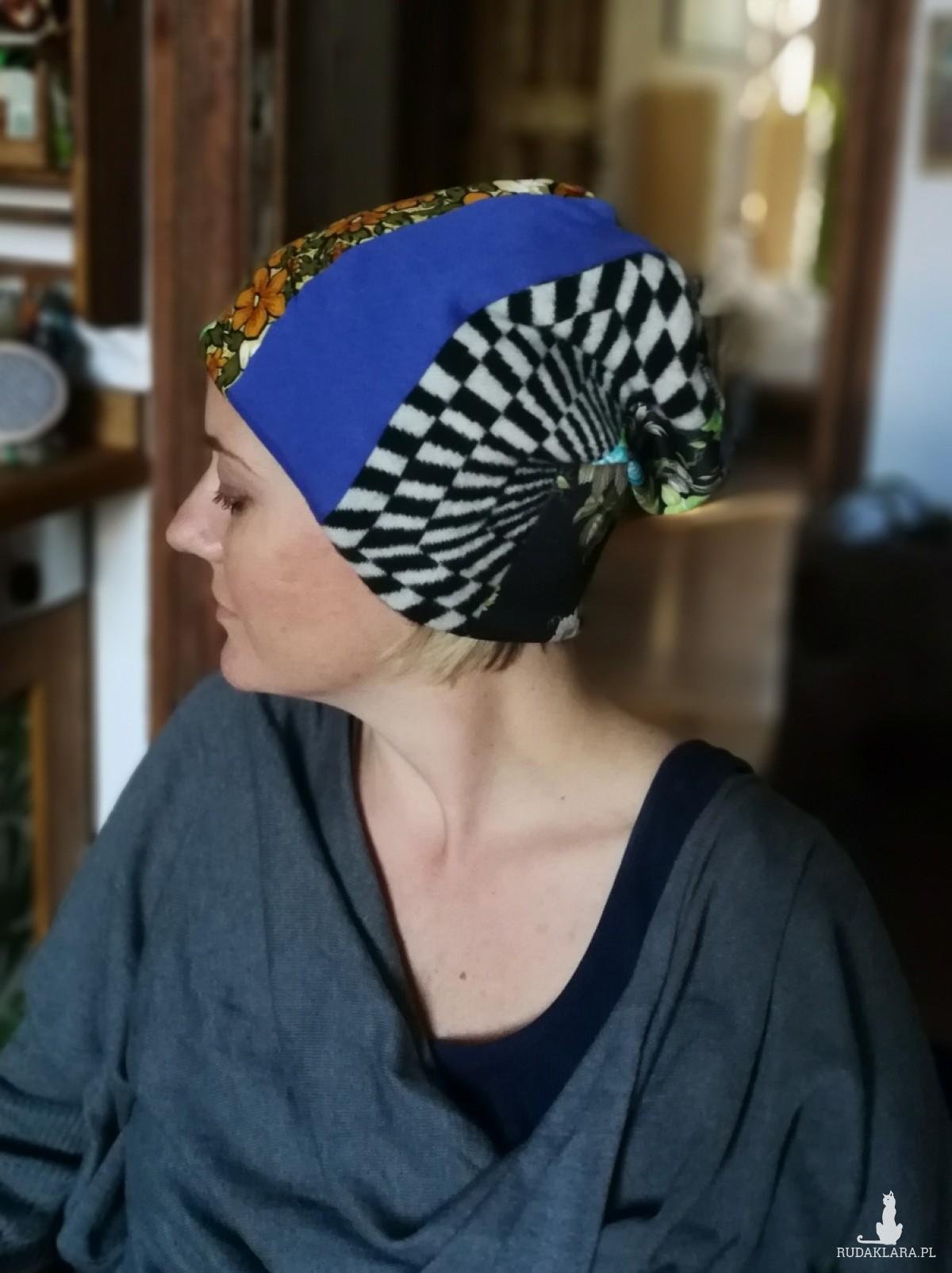 czapka damska patchworkowa dobra na codzienne noszenie
