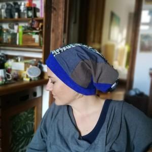 czapka damska szyta patchworkowo długa smerfetka