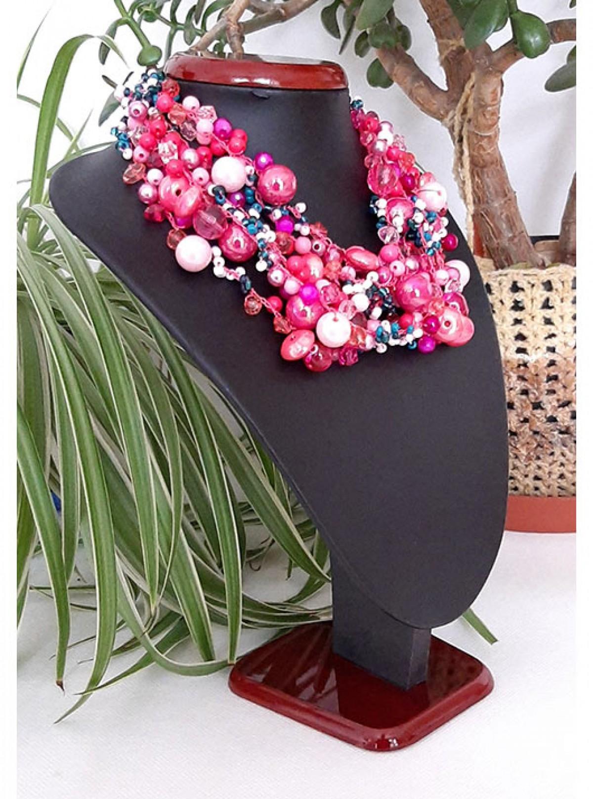 4328 naszyjnik kolia korale różowy