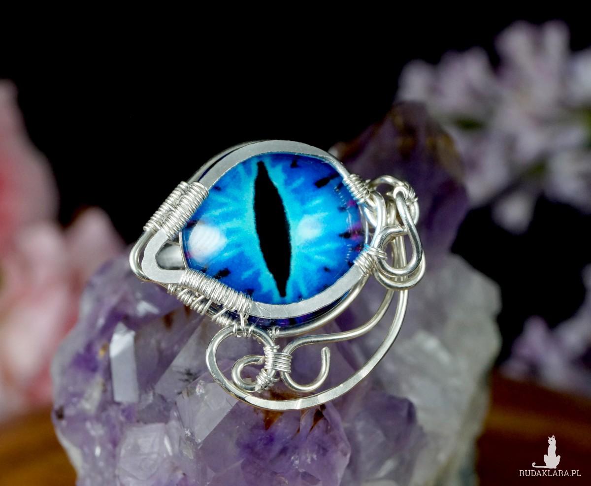 Smocze oko, srebrny pierścionek ręcznie wykonany, prezent dla niej, prezent dla mamy, prezent urodzinowy, niepowtarzalna biżuteria autorska