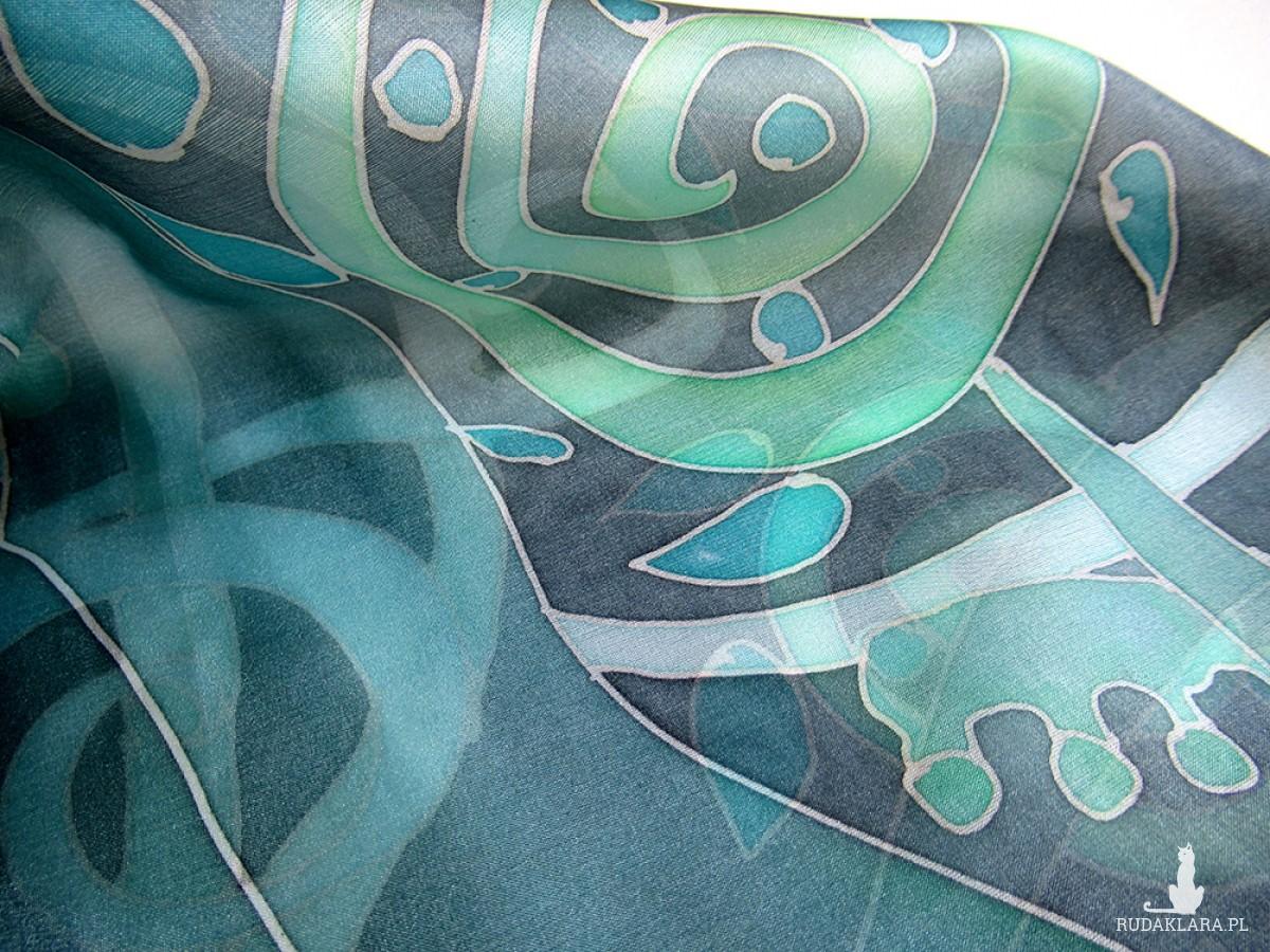 Roślinna w odcieniach zieleni, apaszka jedwabna