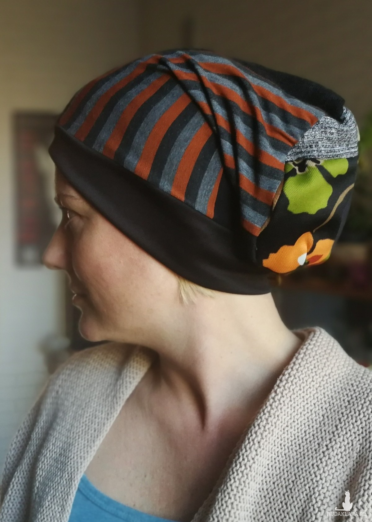 czapka turbanowa smerfetka długa
