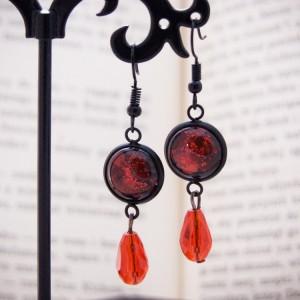 Długie kolczyki z ręcznie malowanym szkłem - czerwone