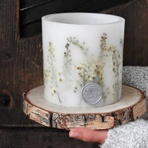 Dekoracyjny lampion świecznik KRAINA DELIKATNOŚCI z drewnianą podkładką