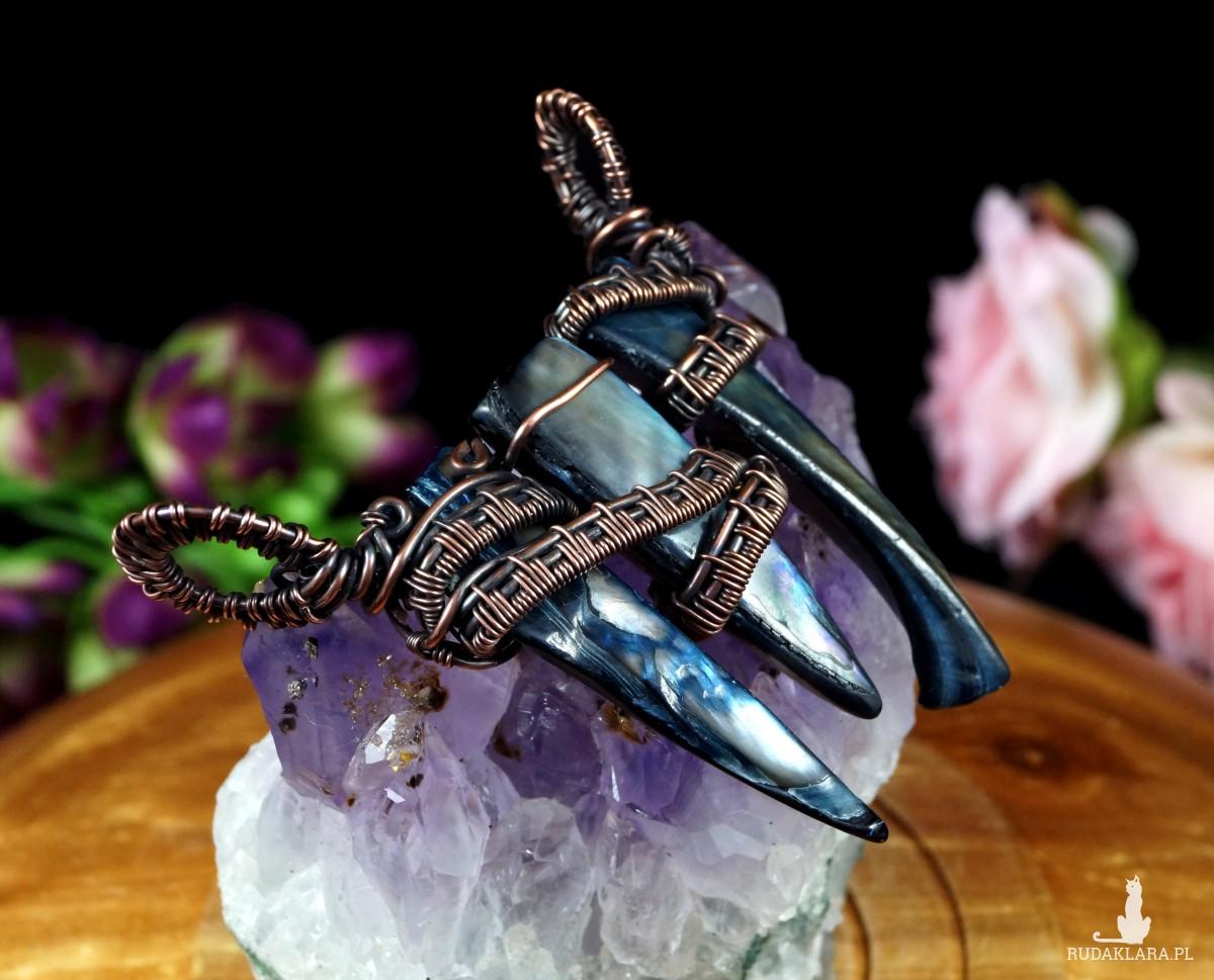 Miedziany naszyjnik z niebieskiej masy perłowej, ręcznie wykonany, prezent dla niej, prezent dla siostry, urodzinowy, walentynki, unisex