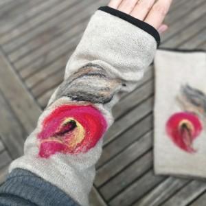 mitenki w kolorze beżu filcowane wełna merynosów