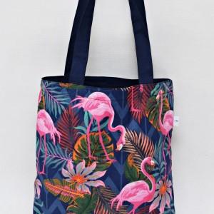 Torba na zakupy shopperka ekologiczna torba zakupowa na ramię eko siatka flamingi