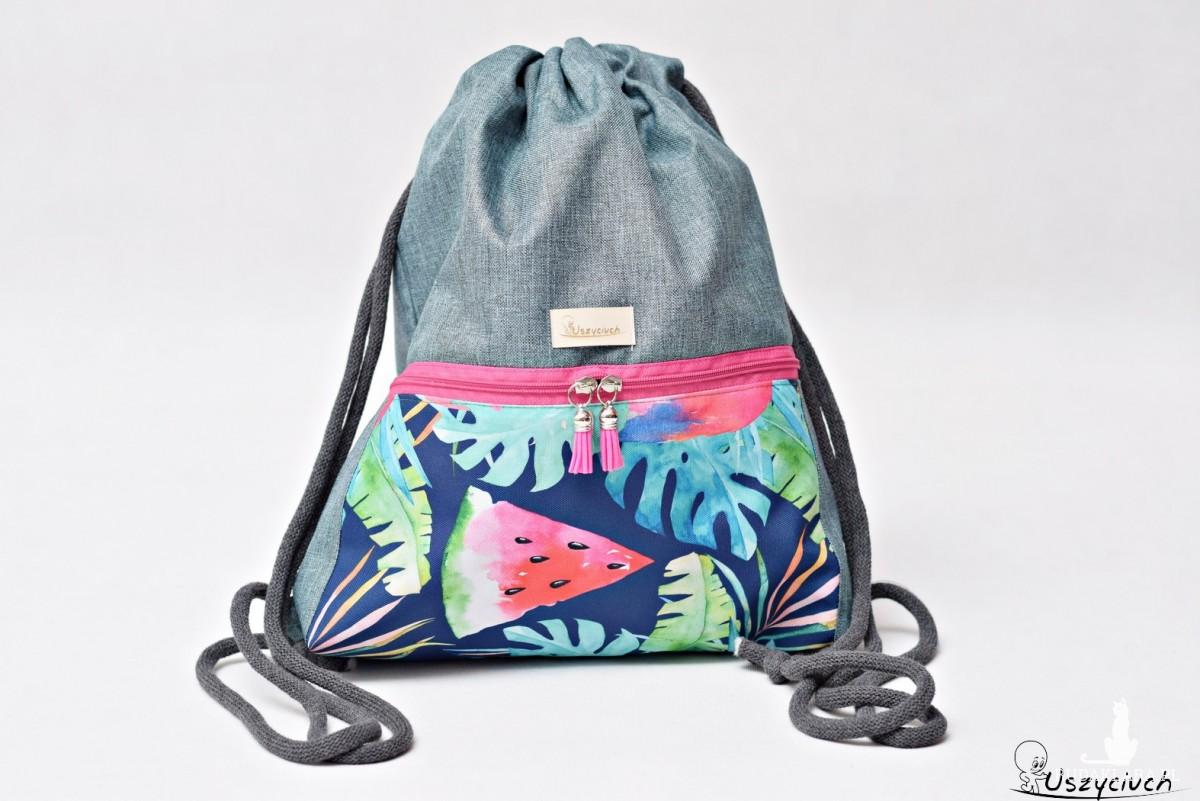 Workoplecak wodoodporny, worek plecak, torba na plecy, worek ze sznurami worko plecak, plecak wodoodporny arbuzy