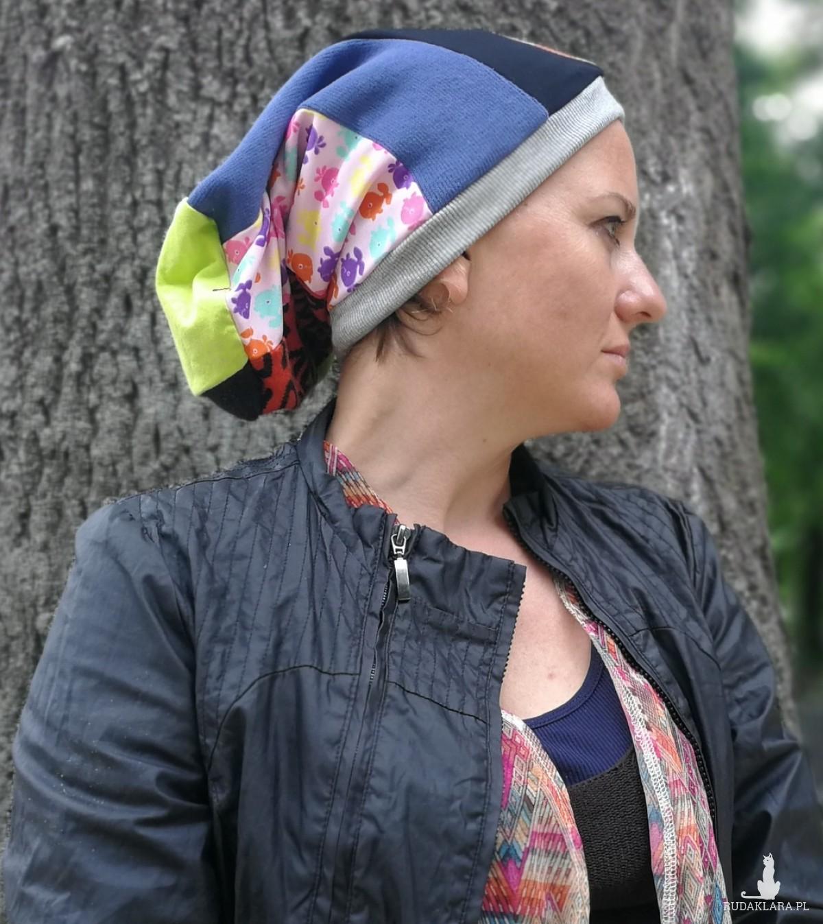 czapka damska szyta patchworkowo etno boho folk wiosenna