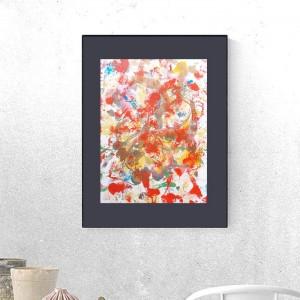 nowoczesna grafika do sypialni, czerwona abstrakcja, złota dekoracja na ścianę, grafika do loftu