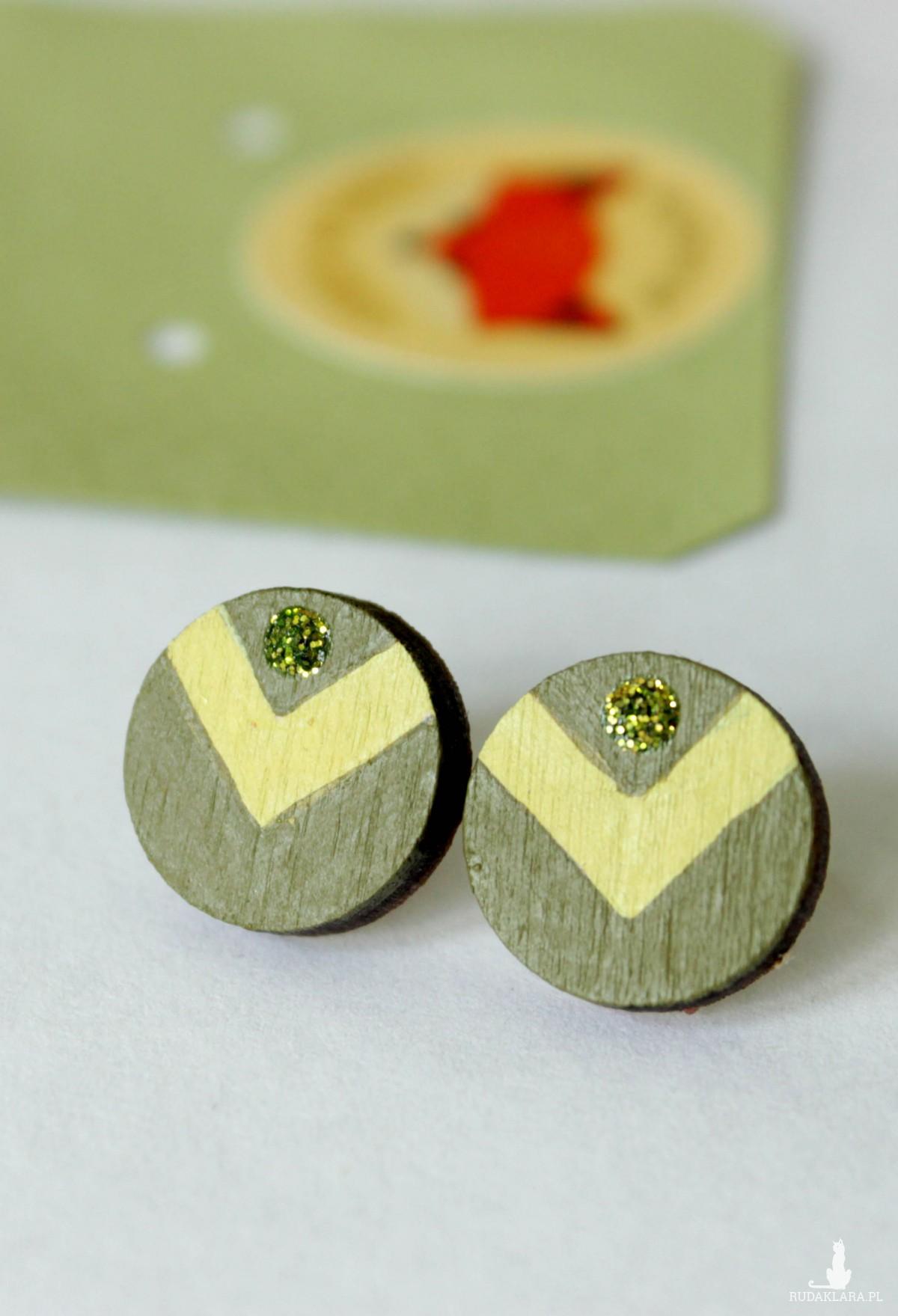 Kolczyki drewniane ręcznie malowane