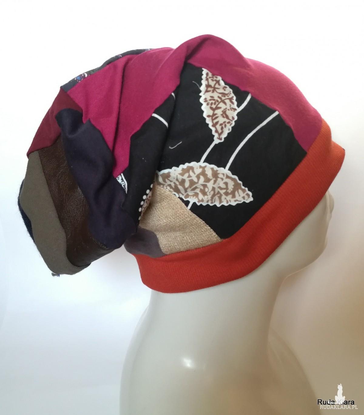czapka etno boho szyta patchworkowo damska wiosenna