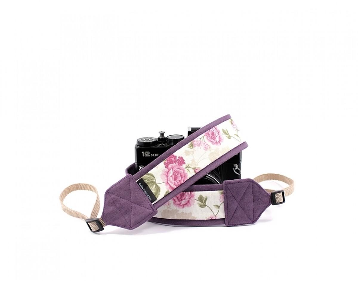 Pasek do aparatu fotograficznego Romantic z fioletem
