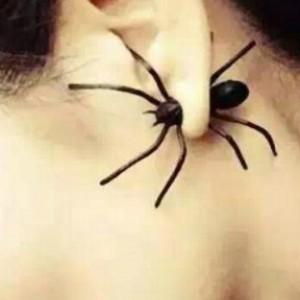 kolczyki w pajęczej sieci kokoszą się dzieci