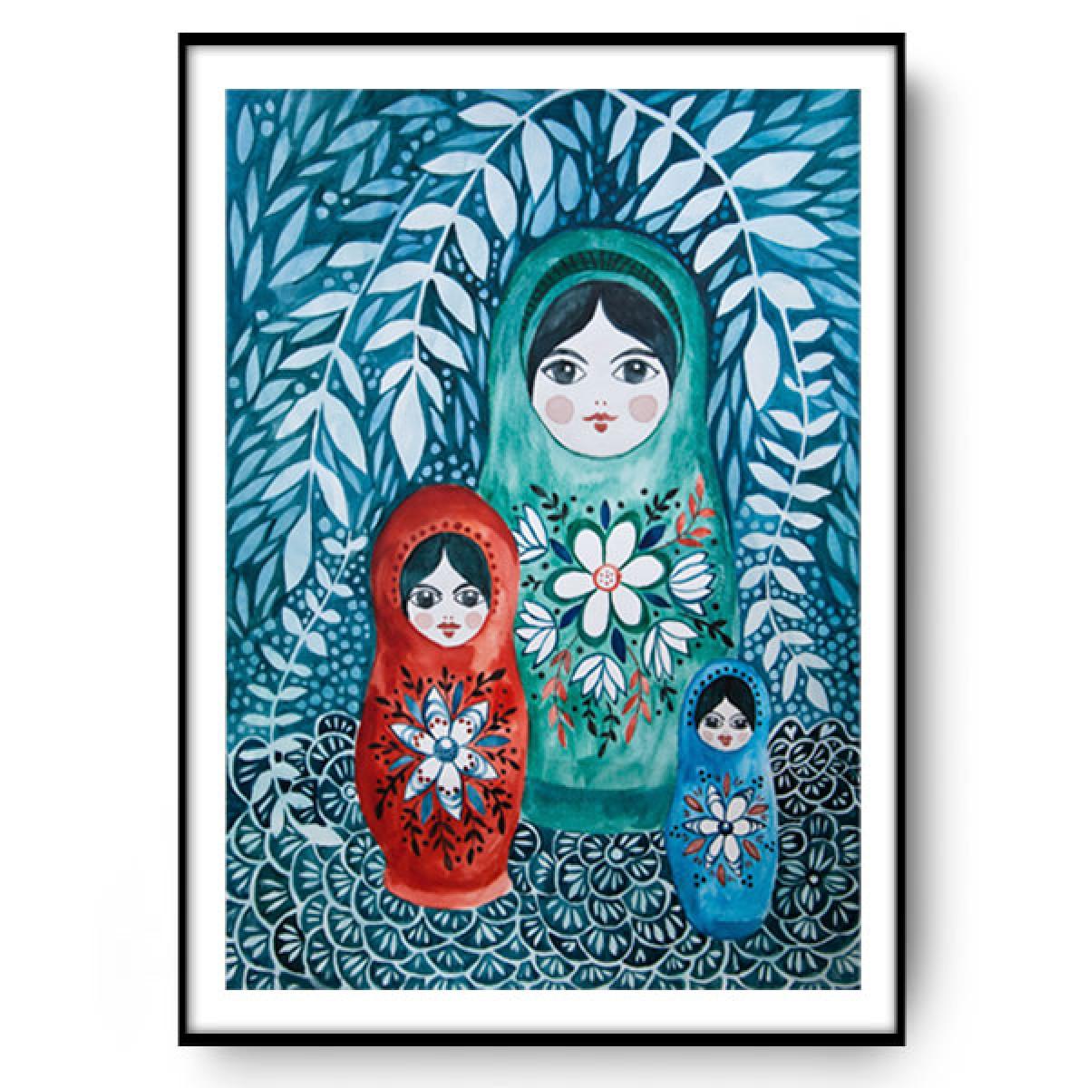 Matrioszki ilustracja 50x70
