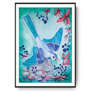 BLUEBERRY BIRD 50x70