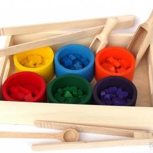 Sorter kolorów drewniany, zabawka Montessori