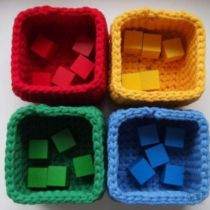 Sorter kolorów + KLOCKI, pomoce Montessori, koszyk