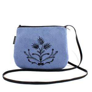 Mała torebka damska Niebieska z czarnym haftem