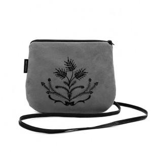 Mała torebka damska Szara z czarnym haftem