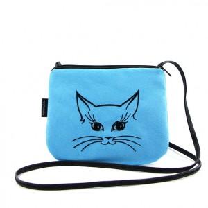 Mała torebka damska Niebieska z czarnym kotkiem