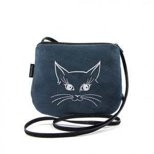 Mała torebka damska Stalowo-niebieska z białym kotkiem