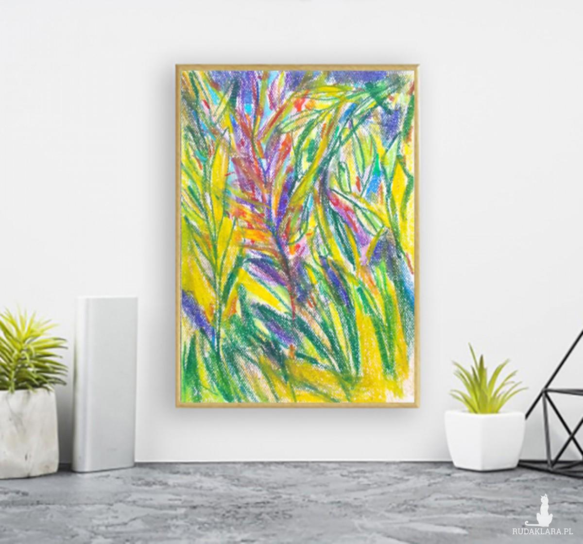 dżungla rysunek w ramce, kolorowy obraz do salonu, mały obraz na ścianę, oprawiony szkic przyrody