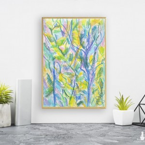 kolorowy rysunek z dżunglą, mały obraz do salonu, oprawiona grafika na ścianę