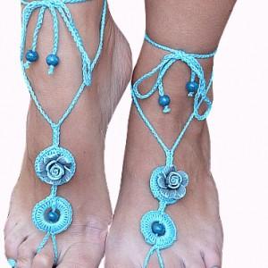 Ozdoba na stopy - turkusowe sandałki ;o)