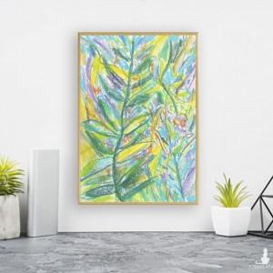 mały obraz z dżunglą, kolorowa grafika do pokoju, oprawiony rysunek botaniczny