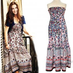 Nowa sukienka bez ramion długości maxi z falbaną  M