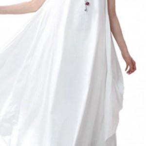 sukienka biała oversize długa M