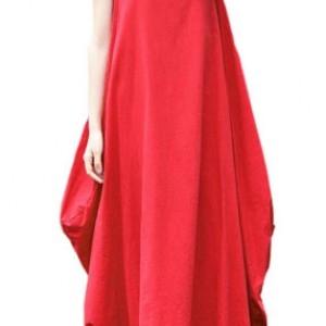 sukienka czerwona oversize długa M