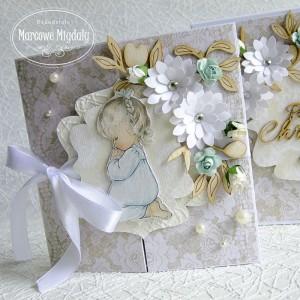 Personalizowany koronkowy komplet, kartka w pudełku na chrzest dla dziewczynki