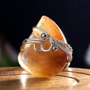 Kwarc z rutylem, srebrny pierścionek z kwarcem z rutylem, pomysł na prezent, prezent dla niej, regulowana obrączka