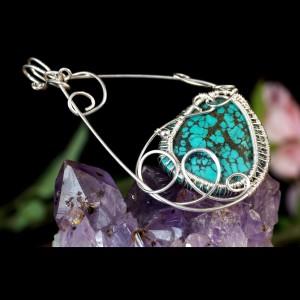 Turkus, srebrny wisior z turkusem, pomysł na prezent, walentynki, urodziny, ręcznie robiony