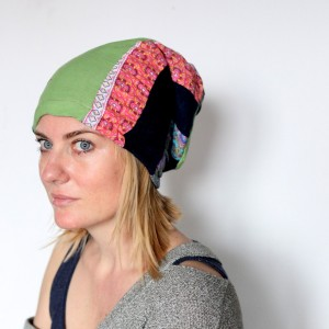 czapka damska hipsterka patchwork