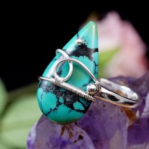 Turkus, srebrny pierścionek z turkusem, regulowana obrączka, pomysł na prezent, walentynki, urodziny