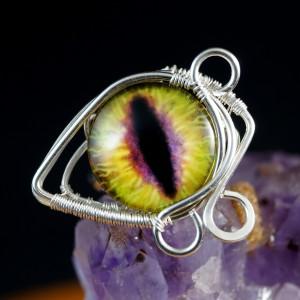 Smocze oko, srebrny pierścionek ręcznie wykonany, prezent dla niej, prezent dla mamy, prezent urodzinowy, niepowtarzalna biżuteria autorska, żółty