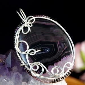 Agat, Srebrny wisior z plastrem agatu wire wrapped, prezent dla niej, prezent dla mamy, ręcznie robiona biżuteria autorska