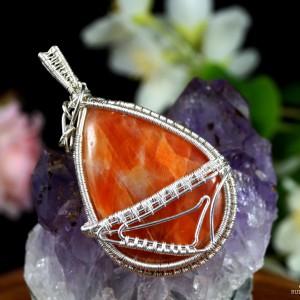 Kalcyt, Srebrny wisiorek z kaboszonem kalcytu, ręcznie wykonany, prezent dla niej prezent dla mamy prezent urodzinowy, biżuteria autorska