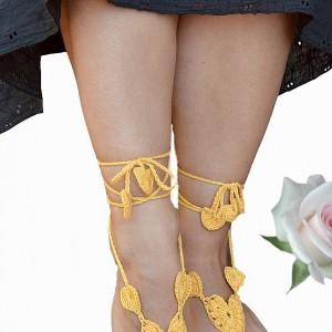 Ozdoba na stopy - żółte sandałki ;o)