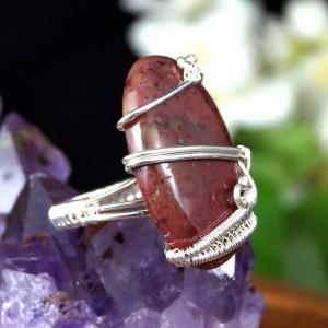 Heliotrop, Srebrny pierścionek z kamieniem krwistym, ręcznie wykonany, prezent dla niej, prezent dla mamy, prezent urodzinowy,