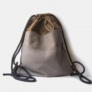Brązowy skórzany plecak worek