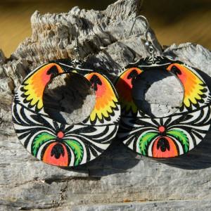Kolczyki boho ludowe, biżuteria folkowa, kolczyki etno, biżuteria flamenco, kolczyki w stylu Fridy Kahlo, Duże kolczyki koła