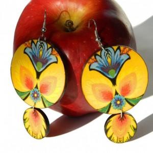 Kolczyki ludowe żółte z niebieskimi kwiatami, biżuteria folkowa, boho folk
