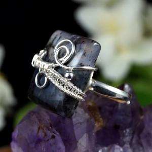 Agat dendrytowy, Srebrny pierścionek z agatem, ręcznie wykonany, prezent dla niej, prezent dla mamy, prezent urodzinowy, regulowany
